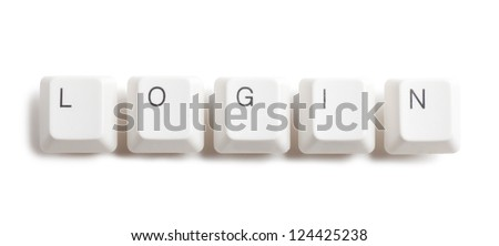 Login word written with computer buttons over white background - stock photo