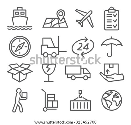 Logistic and Delivery line icons - stock photo