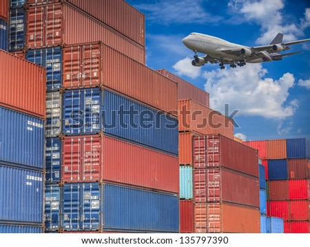 Logistic background and container box - stock photo