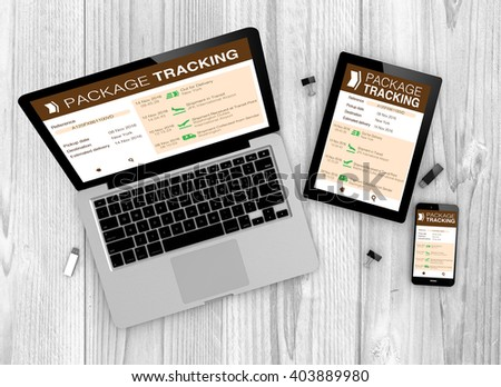 Logistic concept: Devices with package tracking website on the screen. All graphics are made up. 3d Illustration. - stock photo