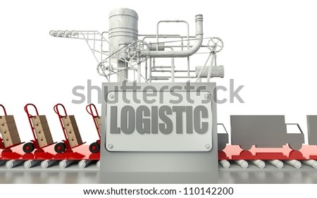 Logistic concept with cardboard boxes and trucks