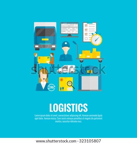 Logistic concept with flat delivery and transport system icons set  illustration