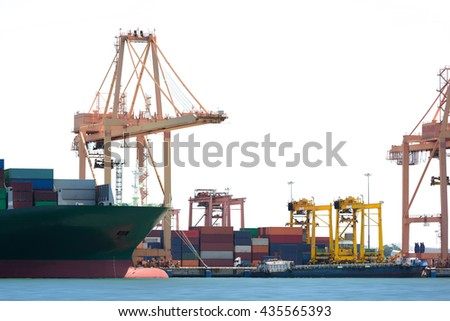 Logistic Import Export background, Cargo ship in the Trade Port isolated on white background, Shipping, Transportation.