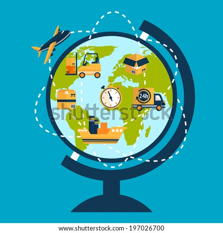 Logistic network concept with globe and delivery tracks and  icons  illustration - stock photo