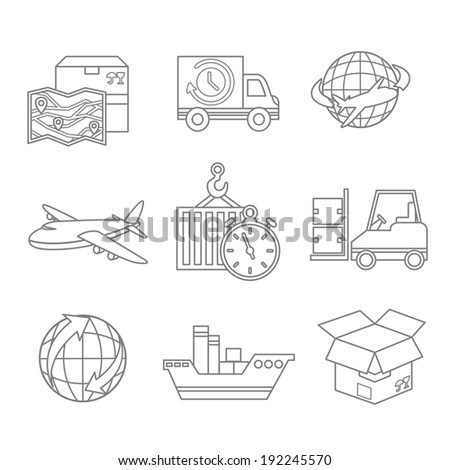 Logistic outline icons set of map 24h delivery and worldwide service symbol isolated  illustration - stock photo
