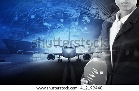 logistic plane and transportation theme - stock photo