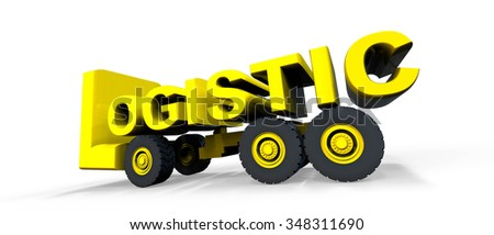 Logistic text on wheels / Logistic Sign