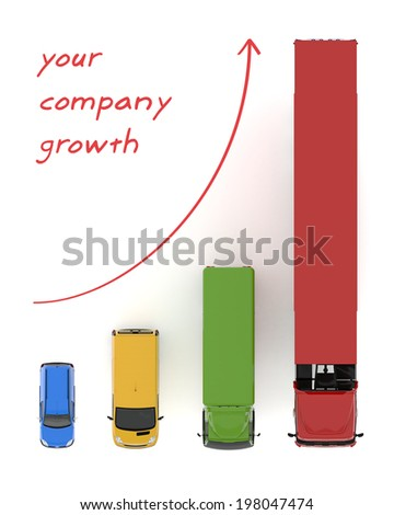 Logistic transportation service growth background graphs illustration with colourful transport cars types - stock photo