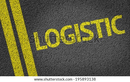 Logistic written on the road - stock photo