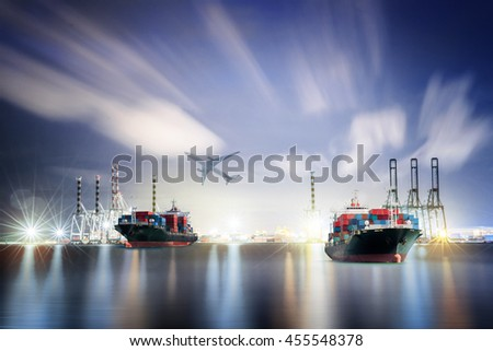 Logistics and transportation Container Cargo ship and Cargo plane with working crane bridge in shipyard background, logistic import export background and transport industry. - stock photo
