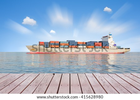 Logistics and transportation of cargo freight ship and cargo container for logistics and transportation background.   - stock photo