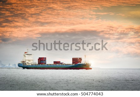 Logistics and transportation of Container Cargo ship