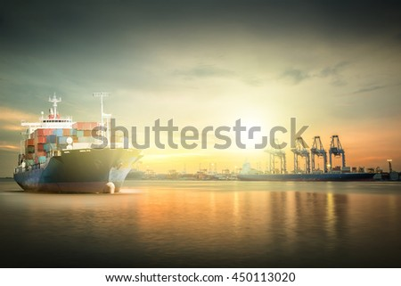 Logistics and transportation of Container Cargo ship with ports crane bridge in harbor for logistic import export background and transport industry. - stock photo