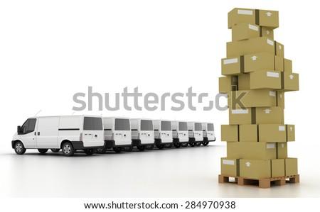 Logistics concept; van and goods, original three dimensional models, - stock photo