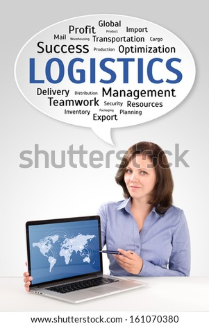 Logistics manager is showing world map on a laptop screen under technology wordcloud, business concept - stock photo