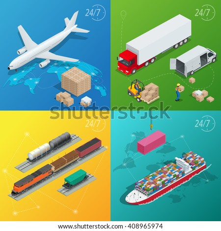 Logistics on-time, Global Logistic network, Logistics concept, Logistics Vector, Logistics transportation, Logistics truck, Logistics supply chain, Logistics warehouse, Logistics isometric - stock photo