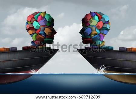 Logistics partnership business export agreement concept stock logistics partnership and business export agreement concept as two transport cargo ships with freight shaped as platinumwayz