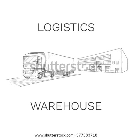 Logistics sign with truck and warehouse illustration - stock photo