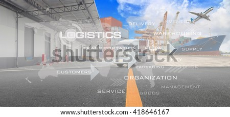 Logistics supply chain on screen with Industrial Container Cargo freight ship in shipyard  for Logistic Import Export background (Elements of this image furnished by NASA)
