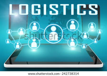 Logistics - text illustration with social icons and tablet computer and mobile cellphones on cyan digital world map background - stock photo