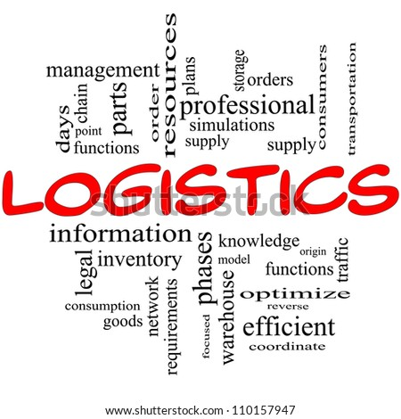 Logistics Word Cloud Concept in red and black with great terms such as resources, goods, supply, optimize, model, orders, network and more
