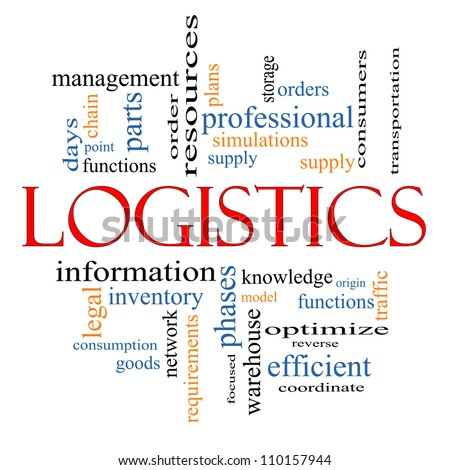 Logistics Word Cloud Concept with great terms such as plans, resources, supply, optimize, model, orders, network and more - stock photo