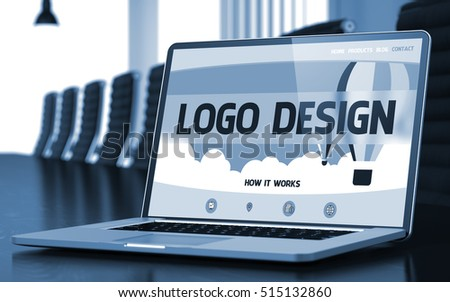 Logo Design - Landing Page with Inscription on Mobile Computer Screen on Background of Comfortable Meeting Hall in Modern Office. Closeup View. Toned. Blurred Image. 3D Illustration.