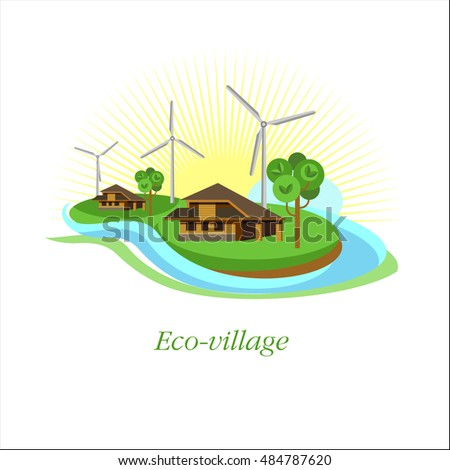 Logo eco-village. Eco-house. Corporate brand style.