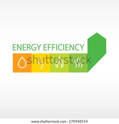 Logo, energy efficiency. Diagram of growth of energy efficiency, saving resources. - stock photo