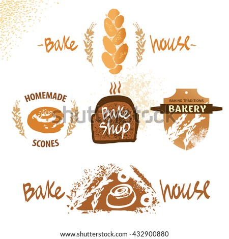 Logo for fresh bakery products from wheat and rye flour, decorated with ears of wheat. Draw by hand bread. Bake house logo. Bakery shop logo. - stock photo