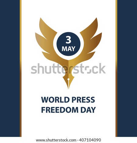 Logo for world day freedom press, sign for presentation event. Gold eagle on white background. - stock photo