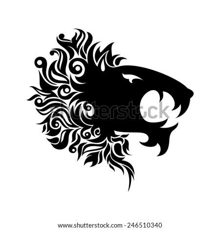 Logo Lion Head. Patterned design - stock photo
