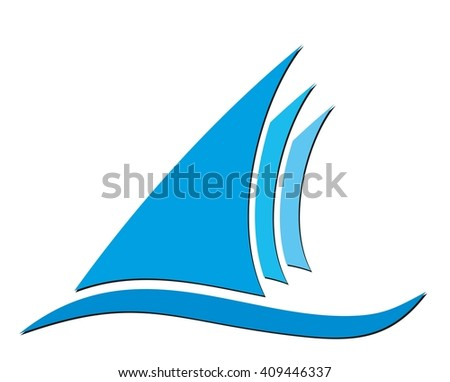 Logo of blue sailing vessel.