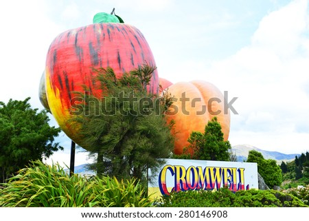 Logo of Cromwell town in New Zealand near Queenstown - stock photo