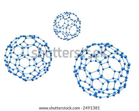 Logo Three Blue molecules over white background - stock photo