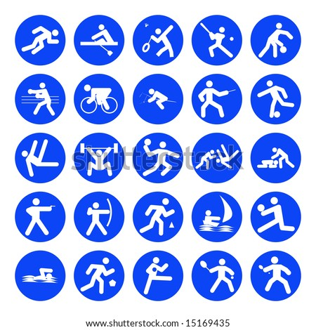 logos of sports, olympics games, blue on white background