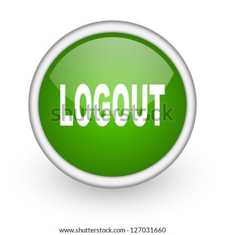 logout green circle glossy web icon on white background - stock photo