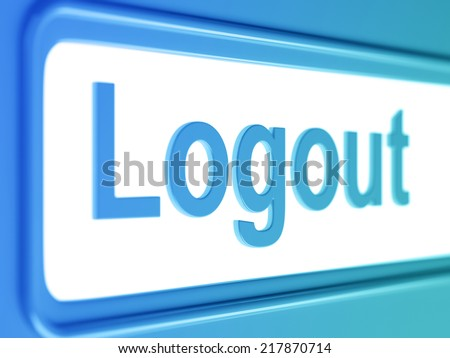 Logout internet blue icon. Logout button from blue chrome - stock photo