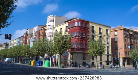 LOGRONO, SPAIN, OCTOBER 25, 2014: colorful houses are stretched alongside the main avenue in spanish city logrono.