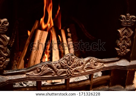 Logs burning in the fireplace, home atmosphere - stock photo