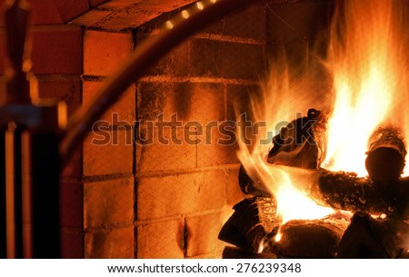 Logs burning inside fireplace - stock photo
