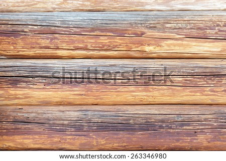 Logs the texture of the wooden house - stock photo