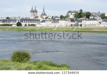 Loire river as it passes through the medieval town of Blois, Loire Valley, France - stock photo