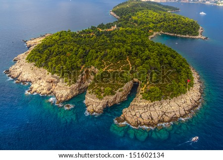 Lokrum Island and nature park near Dubrovnik, Croatia - stock photo