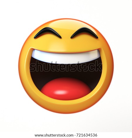 LoL Emoji Isolated On White Background Laughing Face Emoticon 3d Rendering