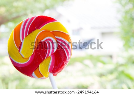 Lollipop candy on table - stock photo