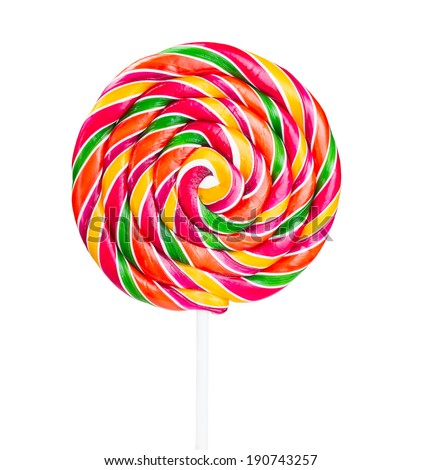 Lollipop on a stick isolated on white background
