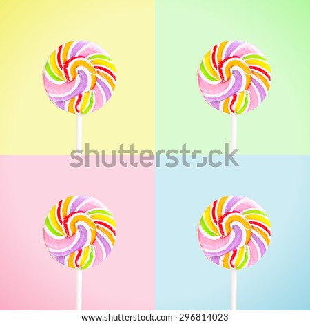 Lollipop over 4 colours window background, vintage and retro style.