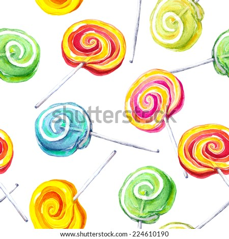 Lollipop repeating pattern. Water color - stock photo