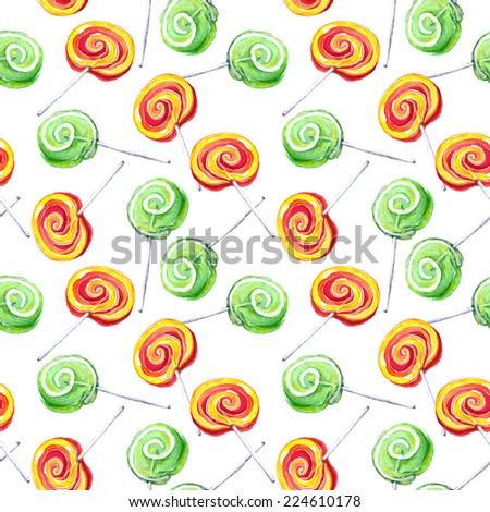 Lollypop repeating pattern. Water colour - stock photo